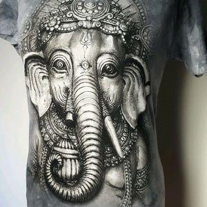 THE MOUNTAIN Ganesh elephant tee cotton tie dye S